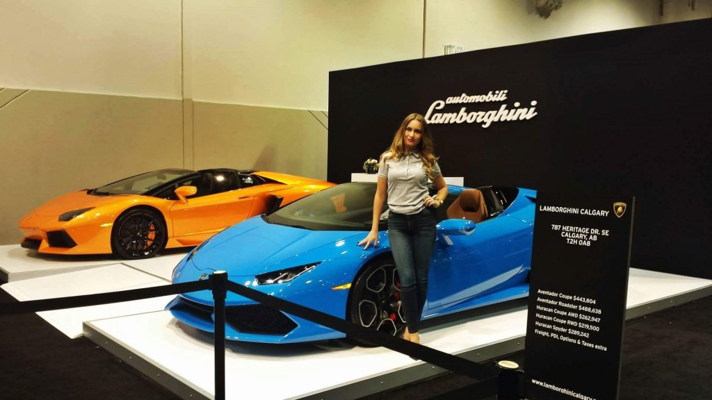 Trade Show Booth Vancouver : Calgary promotional models for lamborghini